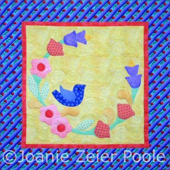 Birdie in a Garden Wreath Appliqué Block