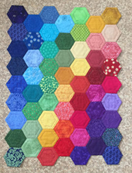 Rainbow Hexie Quilt by Joanie Zeier Poole
